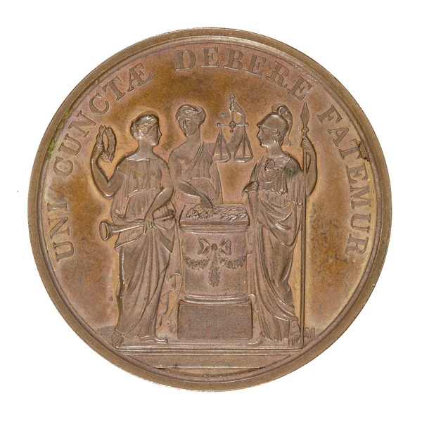 File:Baksida av medalj med bild av tre kvinnor vid ett altare - Skoklosters slott - 99290.tif