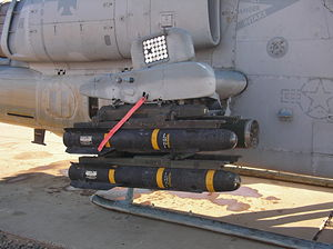 AGM-114 Hellfire - Hellfire loaded onto the rails of a United States Marine Corps AH-1W Super Cobra at Balad Air Base in Iraq in 2005.