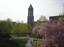 Bell tower and scenic university campus