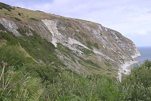 Ballard Cliff - Ballard Cliff from the South West Coast Path to the west