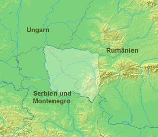 Posizione del Banato con i confini attuali di Ungheria, Romania e Serbia