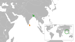 Map indicating locations of බංග්ලාදේශය and ශ්‍රී ලංකාව