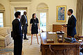 Barack Obama, Eugene Kang, Katie Johnson and Reggie Love in the Oval Office.jpg