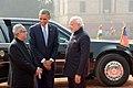 Barack Obama being welcomed by the President, Shri Pranab Mukherjee and the Prime Minister, Shri Narendra Modi at Ceremonial Reception, at forecourt of Rashtrapati Bhavan, in New Delhi on January 25, 2015.jpg
