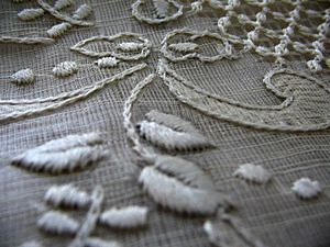 Piña - Close-up view of a Barong Tagalog made with piña fiber.