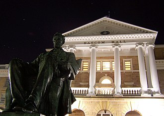 Bascom Hill - Bascom Hall and the statue of Abraham Lincoln.