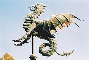 "Texas Country Reporter - A basilisk weathervane that appeared in the episode ""David Smith, Working in Vane."""
