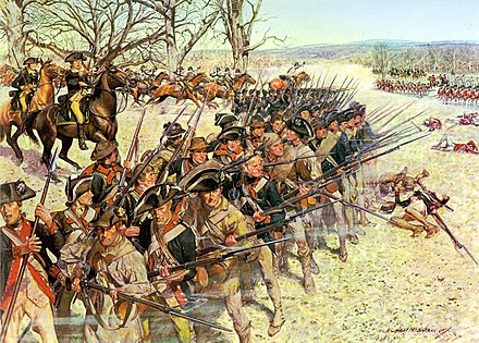 1st Maryland Regiment holding the line at the Battle of Guilford Battle of Guiliford Courthouse 15 March 1781.jpg