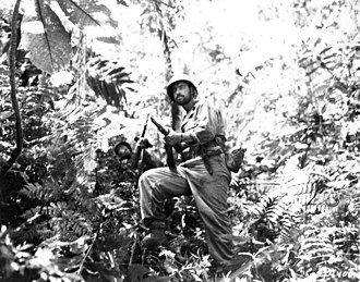 New Georgia Campaign - Men of the United States 25th Infantry Division push through the jungle along the Zieta Trail on 12 August 1943