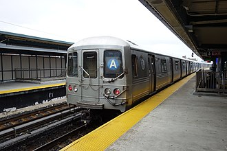 A (New York City Subway service) - An A train of R46s at Beach 60th Street
