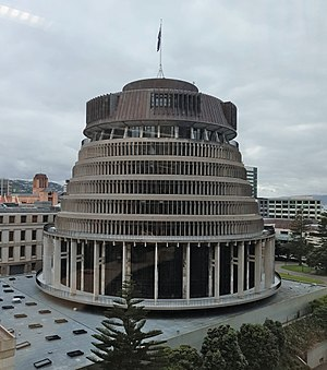 Beehive (New Zealand) - A southern view from Treasury building