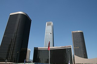 The China World Trade Center complex of buildings in Beijing, China