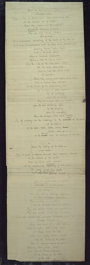 "The Bells (poem) - Additional stanzas of Poe's handwritten manuscript for ""The Bells"", 1848."
