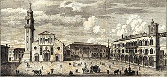 Belluno Cathedral - Engraving of the cathedral and the Piazza del duomo in 1750, by Tommaso Salmon