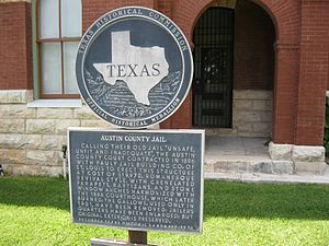 Bellville, Texas - Image: Bellville TX Old Jail Marker