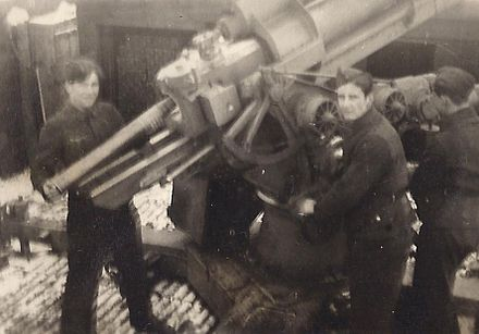 Flakhelfer anti-aircraft gun crew in 1944 pattern uniform - World War II German uniform