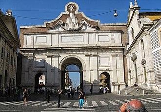 Porta del Popolo - Porta del Popolo (Rome): inner façade. On the right, the church of Santa Maria del Popolo