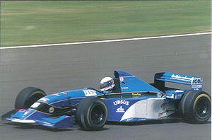 Bertrand Gachot - Gachot driving for Pacific at the 1995 British Grand Prix.