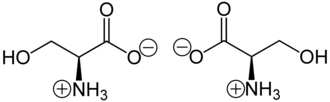 Serine - (S)-Serine (left) and (R)-serine (right) in zwitterionic form at neutral pH