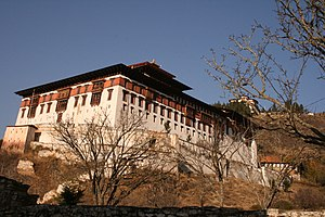 Dzong architecture - Rinpung Dzong at Paro, with watchtower seen above.