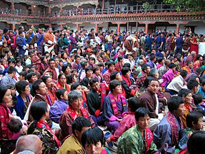Bhutanese people in national dress at the wangdi phodrang festival