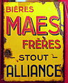 Bières Maes Frères Stout Alliance enamel advertising signs.JPG