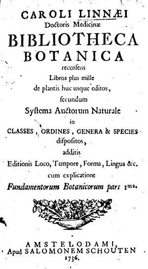 Bibliotheca Botanica - Title page of Linnaeus's Bibliotheca Botanica, 1736.