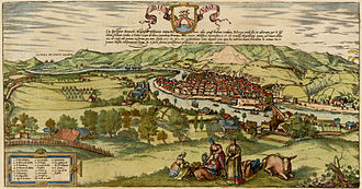 Bilbao - First engraving of the city, made by Franz Hohenberg in 1554 and first published in 1574. Many notable buildings can be seen, like the Santiago Cathedral, and the church of San Antón.