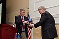 Biofuels Digest Publisher and Editor Jim Lane presents U.S. Department of Agriculture Secretary Tom Vilsack the Global Biofuels Leadership Award for his service in bringing food, fiber, feed and fuel for all.jpg