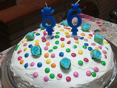 Birthday cake stuffed and covered with cream decorated with flowers and smarties Do it yourself.jpg