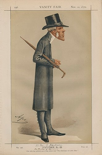 """John Jackson (bishop) - """"One who has grieved more than others over 'The Sinfulness of Little Sins'"""" Bishop Jackson as caricatured by Ape (Carlo Pellegrini) in Vanity Fair, November 1870"""