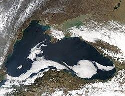 Satellite view of the Black Sea, taken by NASA MODIS.