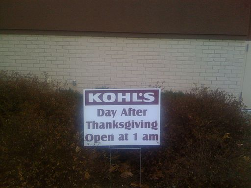 Black Friday sign  at Kohls