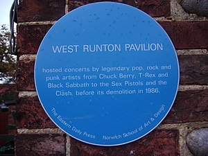 West Runton - The blue plaque recalling the Pavilion