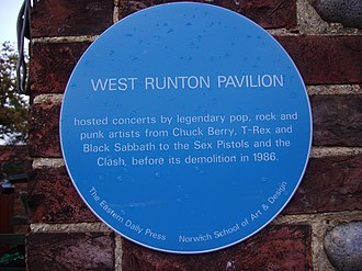 West Runton - The blue plaque recalling the Pavilion