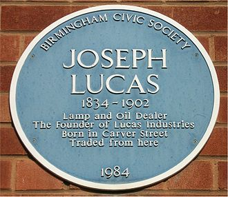 Lucas Industries - Blue plaque on factory building in Carver Street, Birmingham