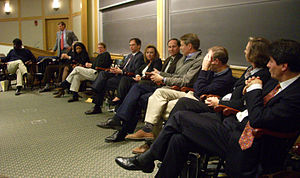 Board of Trustees of Dartmouth College - Twelve sitting members of the Board during a question-and-answer session with students, November 9, 2007. Left to right: Stephen Smith, Charles Haldeman, R. Bradford Evans (mostly obscured), Pamela Joyner, Russell Carson, Todd Zywicki, Karen Francis, Al Mulley, John Donahoe, Stephen Mandel, Jr., Christine Bucklin, and José Fernandez.
