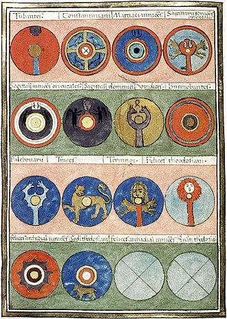 Notitia Dignitatum - Page from a medieval copy of the Notitia Dignitatum commissioned in 1436 by Pietro Donato, depicting shields of Magister Militum Praesentalis II, a late Roman register of military commands. Bodleian Library, Oxford.