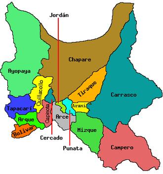 Ayopaya Province - Location within the Cochabamba Department
