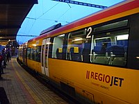 Bombardier Talent RegioJet - on platform in Bratislava - after arrival.JPG