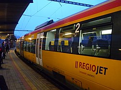 Bombardier Talent RegioJet - on platform in Bratislava - after arrival.JPG