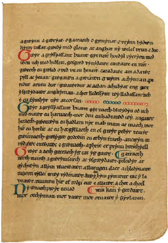 Book of Aneirin - Facsimile of page 9