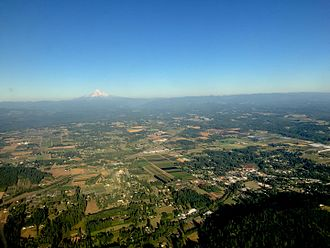 Boring, Oregon - Aerial view of Boring and surrounding area, with Mount Hood in the background