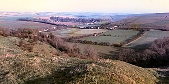 Bowerchalke - Bowerchalke and the Chalke Valley, looking north east from the top of the chalk escarpment