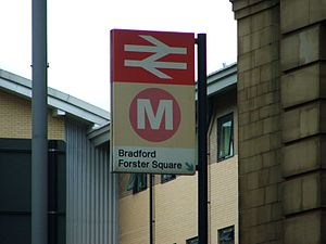 Bradford Forster Square railway station - The sign outside Bradford Forster Square station in August 2007