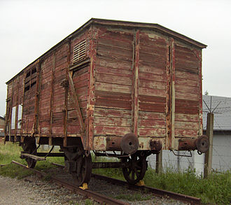 Mechelen transit camp - Original boxcar used for transport to concentration camps in the collection of Fort Breendonk