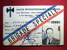 Membership card with photo, stamp and tricolor diagonal lettering