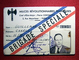 Milice - Counterfeit Milices card prepared for French Resistance member Serge Ravanel, under the alias of Charles Guillemot