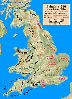 Britain around the year 540. Anglo-Saxon kingdom's names are coloured red. Britonnic kingdoms' names are coloured black.