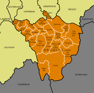 London Borough of Bromley - The 22 wards of the London Borough of Bromley (orange) and the surrounding London boroughs (yellow) and districts outside Greater London (grey)